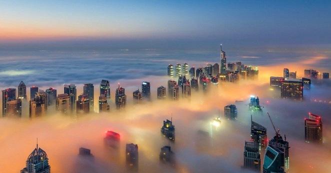 misty skyline